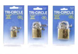 Tri-Circle padlock Square 20-30-50mm, N26 (3 keys), brass