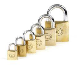 Tri-Circle padlock Square 20-50mm, N26 (3 keys) series keyed alike, brass
