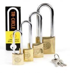 Tri-Circle padlock Square long shackle, L26 (3 keys) 25-50mm, brass