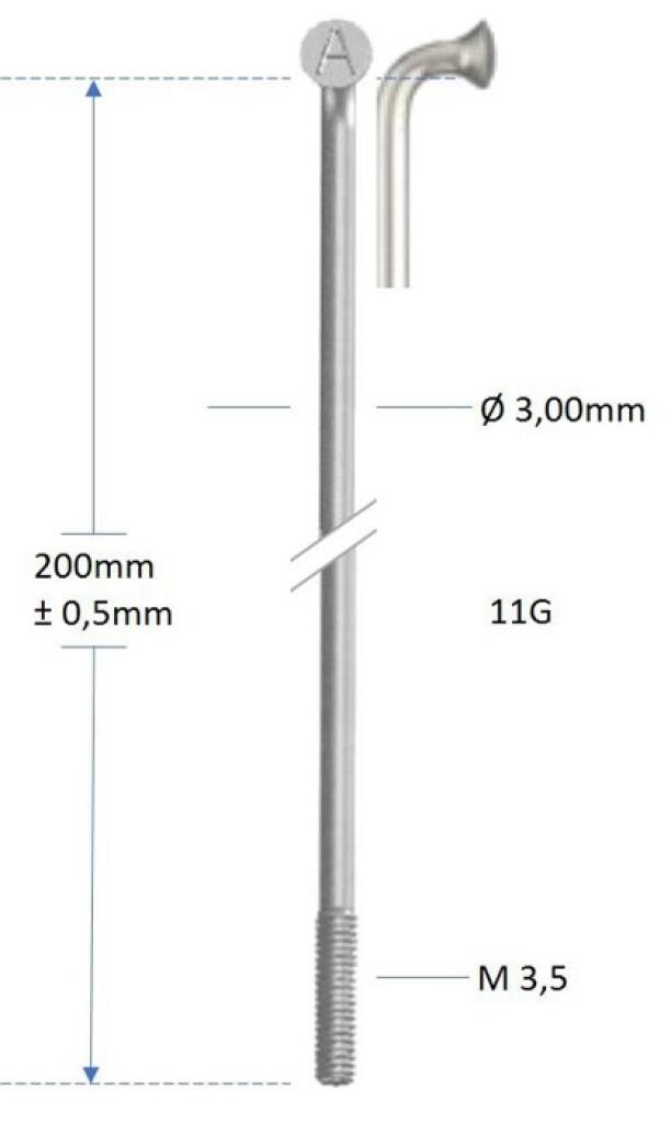 alpina spaak 11g200mm300mmm35 verzinkt zilver gros