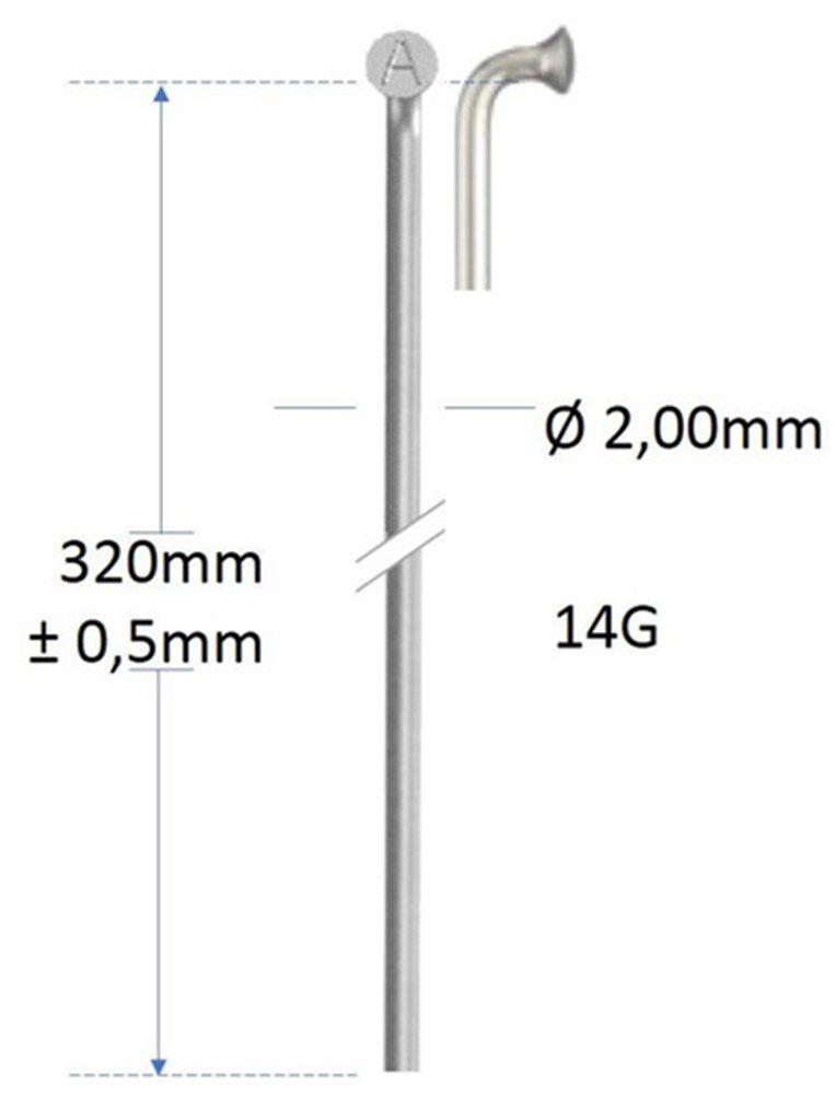 alpina spaak 14g320mm200mm zonder draad rvs zilver gros
