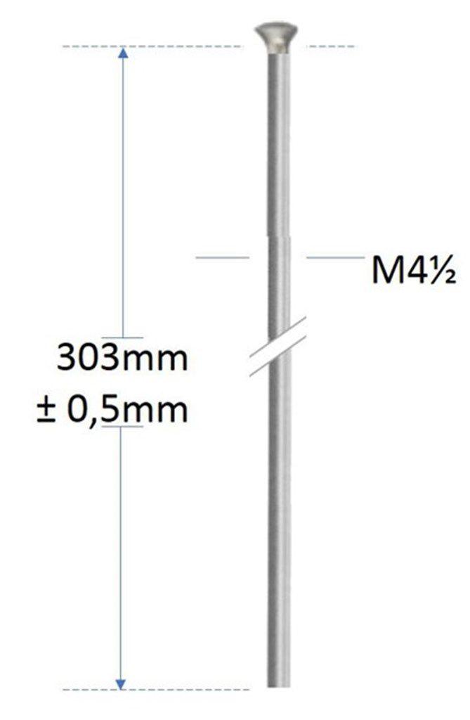 alpina spaak m45303mm recht zonder draad verzinkt zilver p500