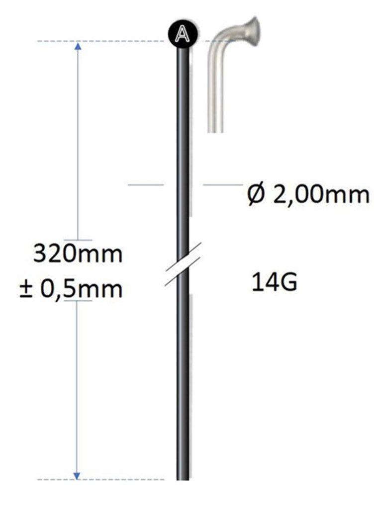 alpina spaak plain14g320mm200mm zonder draad rvs zwart gros