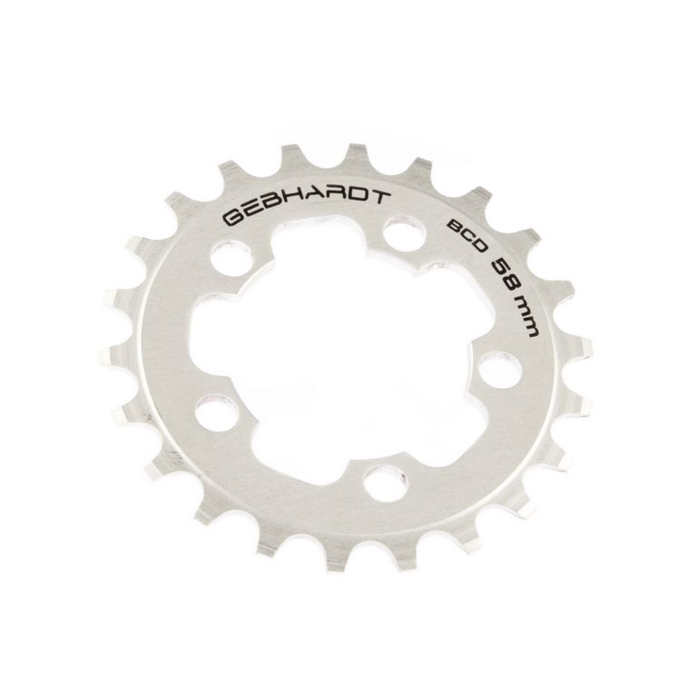 gebhardt chainring classic bcd 58 mm 5hole 22t silver