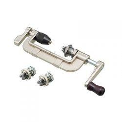 Hozan spaakdraadmachine C-702-22, voor bankschroefklem, met 3 draadsnijkoppen 13~15G-BC2.3~1.8, grij