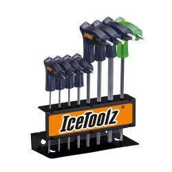 IceToolz 6-kantsleutels 7M85, TwinHead set 8-delig, zwart