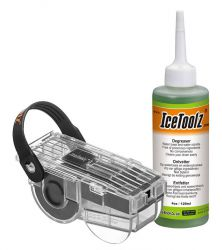 IceToolz chain cleaner C212, + degreaser 4oz•/120ml, transparent