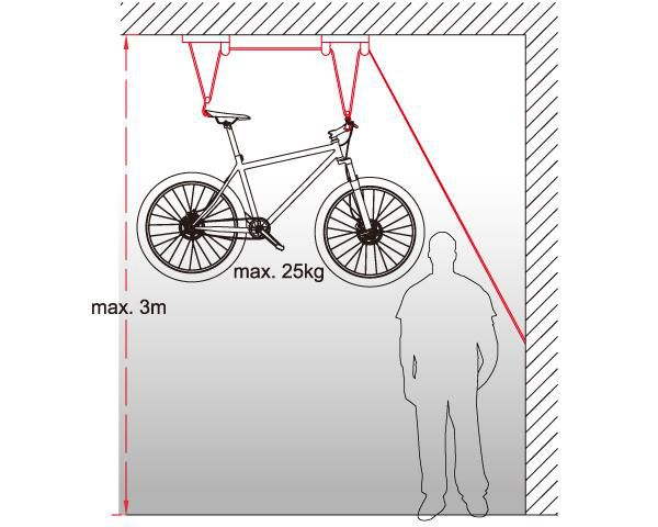 icetoolz fietslift p621 met 2 katrollen voor max 25kg zwart