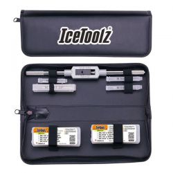 IceToolz Xpert tap set E158, complete, with handle in pouch, black