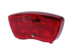 IkziLight achterlicht op drager Junior, 3 rode Tech LED 2 bouten op 5cm, zwart|rood