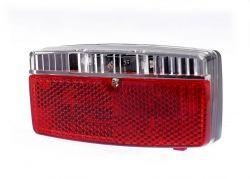 IkziLight achterlicht op drager met prisma, 3 rode LED 2 bouten op 8cm, zwart