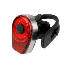 IkziLight achterlicht Round16 USB oplaadbaar, 1 rode COB LED QR, grijs