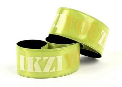 IkziLight armband Reflect Wrap, wit op geel veerklem, geel