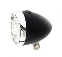 IkziLight headlight Retro, 3 white LED bracket, black