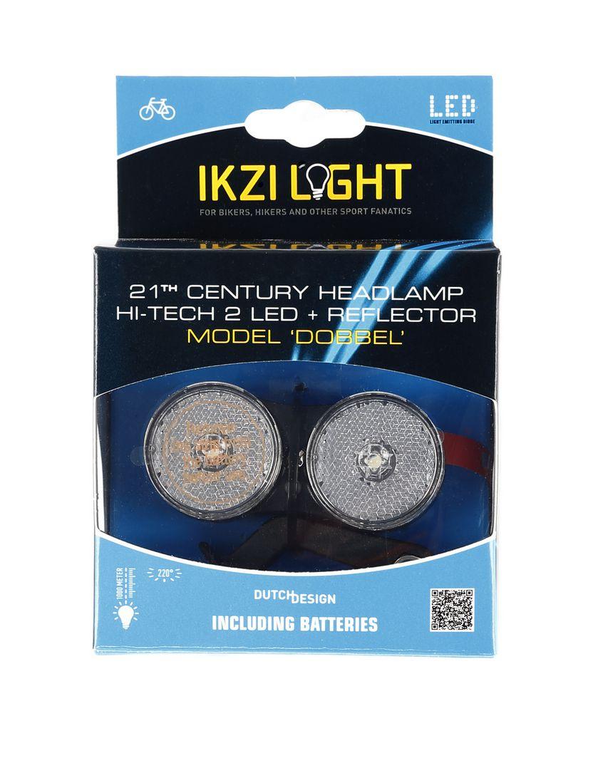 ikzilight koplamp dobbel 2 witte led bracket zwart
