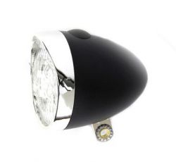 IkziLight koplamp Retro, 3 witte LED bracket, zwart