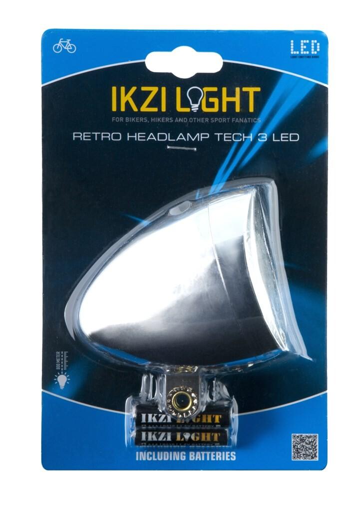 ikzilight koplamp retro 3xled chroom