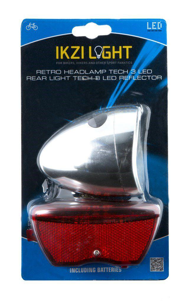 ikzilight koplamp retro chroom 3xled en reflector 5xled