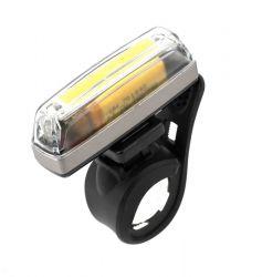 IkziLight koplamp Straight25 USB oplaadbaar, 1 witte COB LED QR, grijs