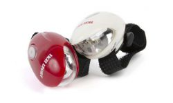 IkziLight LED-set Sharks vision, 2 witte en 3 rode LED klittenband, zwart
