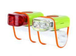 IkziLight LED-set Stripties, 1 white and 1 red LED silicone strap, green