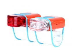 IkziLight LED-set Stripties, 1 white and 1 red LED silicone strap, red