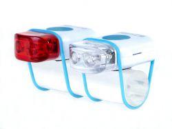 IkziLight LED-set Stripties, 1 white and 1 red LED silicone strap, white
