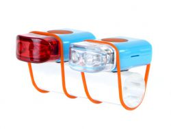 IkziLight LED-set Stripties, 1 witte en 1 rode LED siliconen strap, blauw