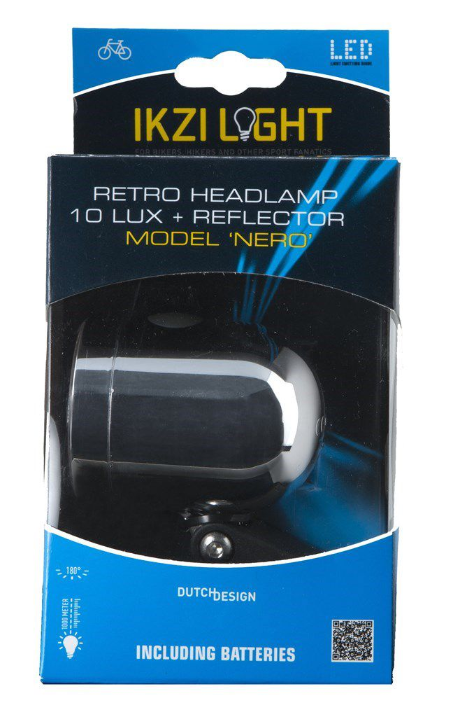 ikzilight koplamp nero 1wled met bracket chroom