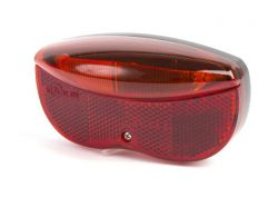 IkziLight rear light on carrier, 3 red Tech LED 2 bolts at 5 cm, black|red
