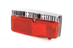 IkziLight rear light on carrier with sensor, 5 red LED 2 bolts at 8 cm, black