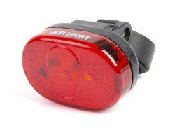 IkziLight rear light oval 65mm, 3 red LED bracket and clip, black