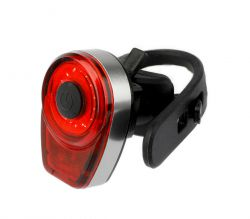 IkziLight rear light Round16 USB rechargeable, 1 red COB LED QR, grey