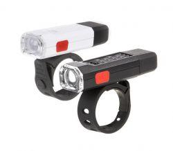 IkziLight verlichtingsset Goodnight Twins USB oplaadbaar, 1 witte en 1 rode COB LED QR, zwart