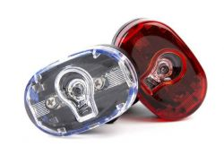 IkziLight verlichtingsset ovaal, 1 witte en 1 rode LED ½W bracket en clip, zwart