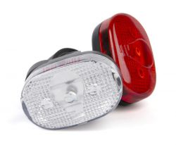 IkziLight verlichtingsset ovaal 65mm, 3 witte en 3 rode LED bracket en clip, zwart