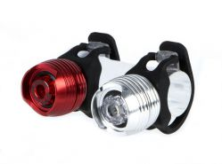 IkziLight verlichtingsset The Metal Dazzle Twin, 1 witte LED 1W en 1 rode LED 1W rubber straps, zwar