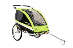 Mirage kidstrailer Zerotwo, met regenkap en fietsstang 1 of 2 kids, groen