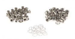 Miranda chainring bolt M8x0.75 - L.10mm, with nut and washer M10, silver