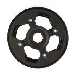 Miranda chainwheel ChainFlow®, BCD 104mm, 4-hole with offset spider and rock ring 38T, black