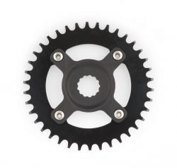 Miranda chainwheel ChainFlow®, BCD 104mm, 4-hole with offset spider 38T, black