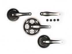 Miranda crankset Beta R+, for tandem 2x33T+22/32/44T, black