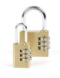 padlock with combination code, brass