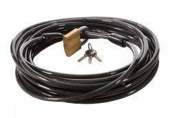 Pythonslot kabel met 2 lussen en 50mm hangslot 10mmx10meter, zwart