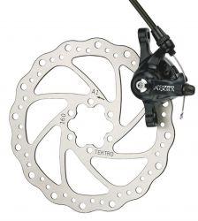 Tektro brake set Aquila MD-M500, MTB mechanical, claw, rotor, adapter (IS) R ø160mm, black