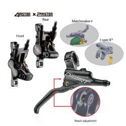 Tektro brake set Orion4+2P HD-M735, MTB hydr. brake caliper, rotor, cable and handle rear, black