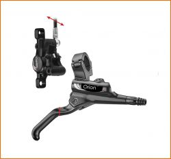 Tektro brake set OrionSL HD-M740, MTB hydr. brake caliper, rotor, cable and handle front left, black
