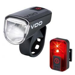 VDO lighting set Eco Light M30 + Red, 30 Lux; USB rechargeable, black